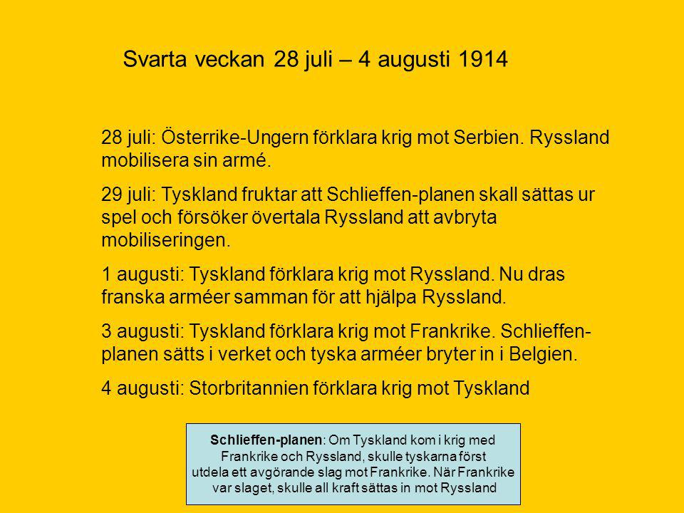 Svarta veckan 28 juli – 4 augusti 1914 28 juli: Österrike-Ungern förklara krig mot Serbien.