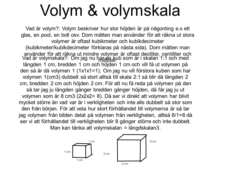 Volym & volymskala Vad är volym?: Volym beskriver hur stor höjden är på någonting e.x ett glas, en pool, en boll osv. Dom måtten man använder för att