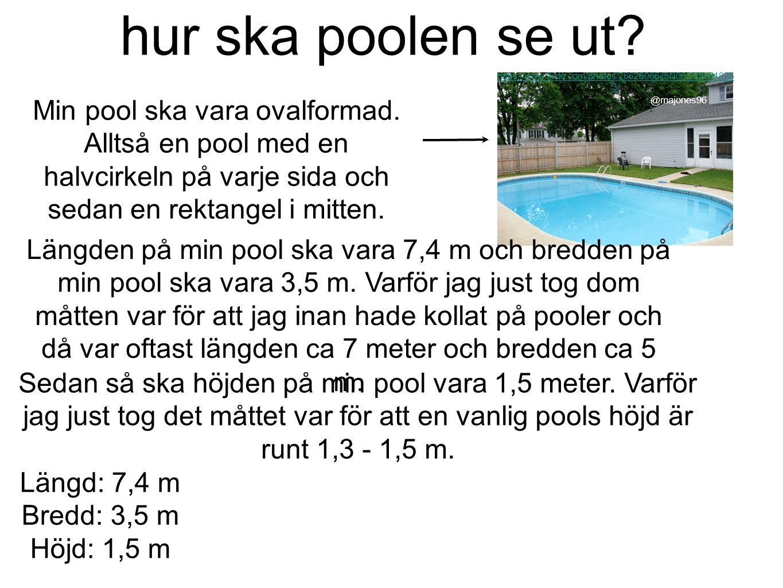 hur ska poolen se ut? Min pool ska vara ovalformad. Alltså en pool med en halvcirkeln på varje sida och sedan en rektangel i mitten. https://www.flick
