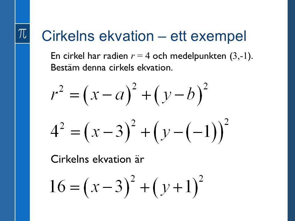 Cirkelns ekvation – ett exempel En cirkel har radien r = 4 och medelpunkten ( 3,-1 ).