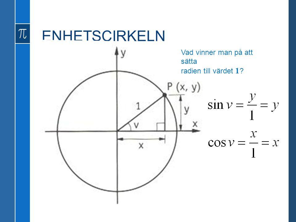 ENHETSCIRKELN Vad vinner man på att sätta radien till värdet 1 ?