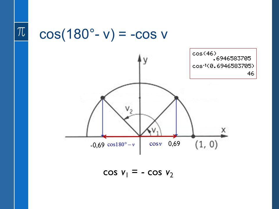 cos(180°- v) = -cos v cos v 1 = - cos v 2 -0,69 0,69