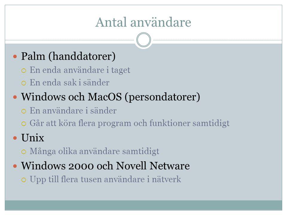 Antal användare  Palm (handdatorer)  En enda användare i taget  En enda sak i sänder  Windows och MacOS (persondatorer)  En användare i sänder  Går att köra flera program och funktioner samtidigt  Unix  Många olika användare samtidigt  Windows 2000 och Novell Netware  Upp till flera tusen användare i nätverk