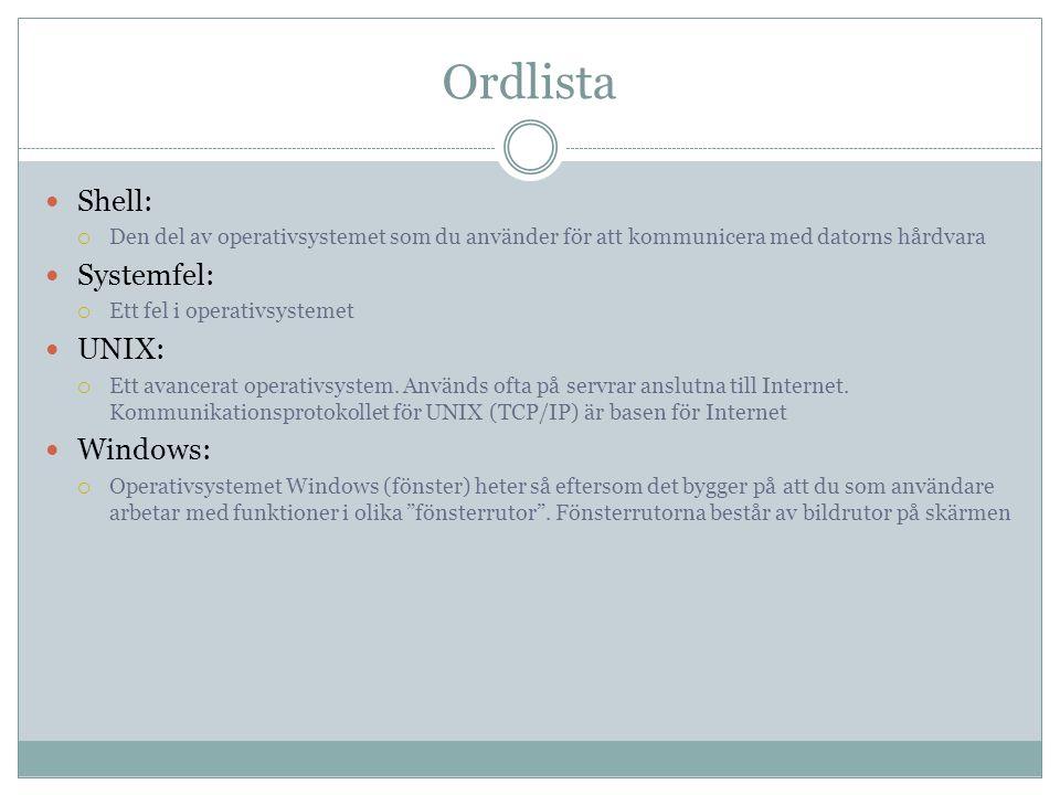 Ordlista  Shell:  Den del av operativsystemet som du använder för att kommunicera med datorns hårdvara  Systemfel:  Ett fel i operativsystemet  UNIX:  Ett avancerat operativsystem.