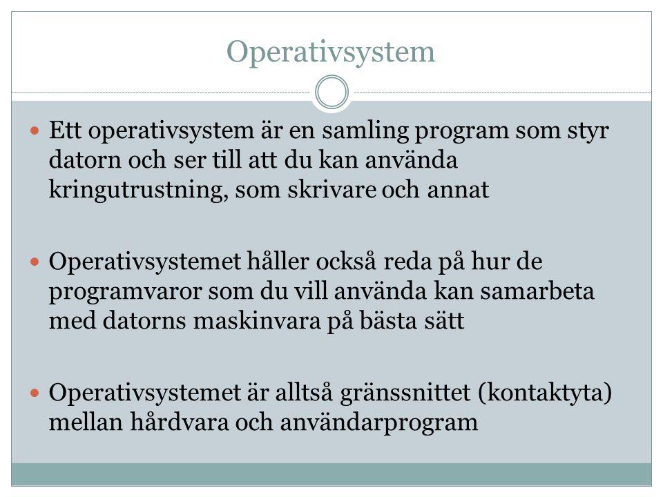 Operativsystem  Ett operativsystem är en samling program som styr datorn och ser till att du kan använda kringutrustning, som skrivare och annat  Op