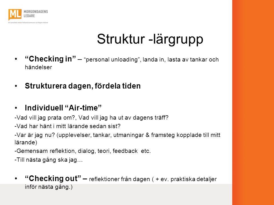 """Struktur -lärgrupp •""""Checking in"""" – """"personal unloading"""", landa in, lasta av tankar och händelser •Strukturera dagen, fördela tiden •Individuell """"Air-"""