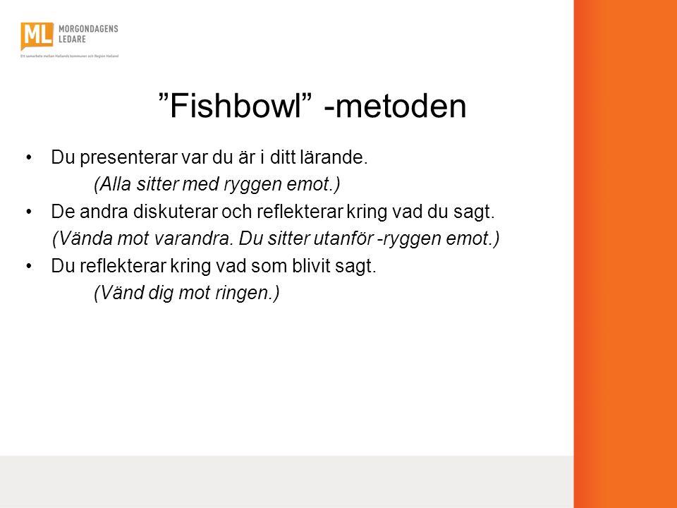 """""""Fishbowl"""" -metoden •Du presenterar var du är i ditt lärande. (Alla sitter med ryggen emot.) •De andra diskuterar och reflekterar kring vad du sagt. ("""