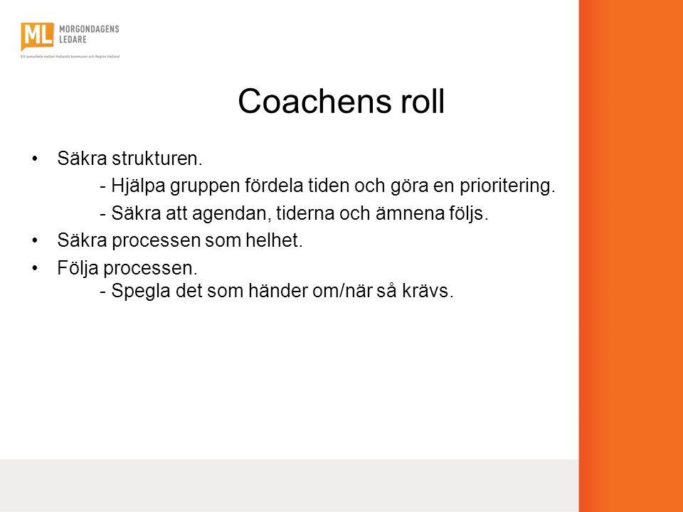 Coachens roll •Säkra strukturen. - Hjälpa gruppen fördela tiden och göra en prioritering. - Säkra att agendan, tiderna och ämnena följs. •Säkra proces