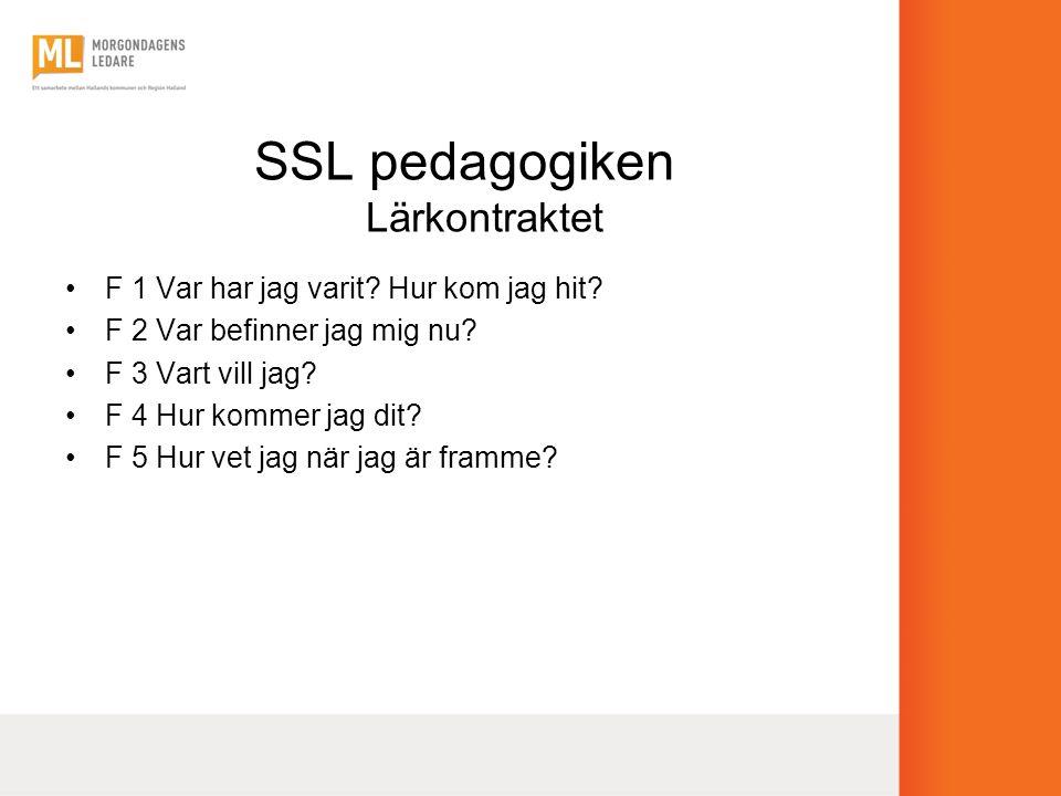 SSL pedagogiken Lärkontraktet •F 1 Var har jag varit? Hur kom jag hit? •F 2 Var befinner jag mig nu? •F 3 Vart vill jag? •F 4 Hur kommer jag dit? •F 5
