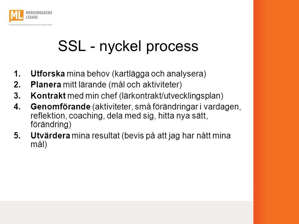 SSL - nyckel process 1.Utforska mina behov (kartlägga och analysera) 2.Planera mitt lärande (mål och aktiviteter) 3.Kontrakt med min chef (lärkontrakt