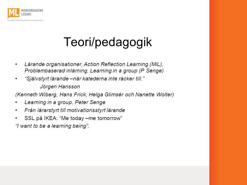 """Teori/pedagogik •Lärande organisationer, Action Reflection Learning (MiL), Problembaserad inlärning, Learning in a group (P Senge) •""""Självstyrt lärand"""