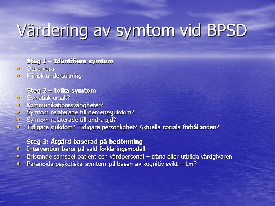 Värdering av symtom vid BPSD Steg 1 – Identifiera symtom • Observera • Klinisk undersökning Steg 2 – tolka symtom • Somatisk orsak.