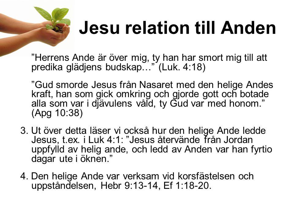 Jesu relation till Anden Herrens Ande är över mig, ty han har smort mig till att predika glädjens budskap… (Luk.