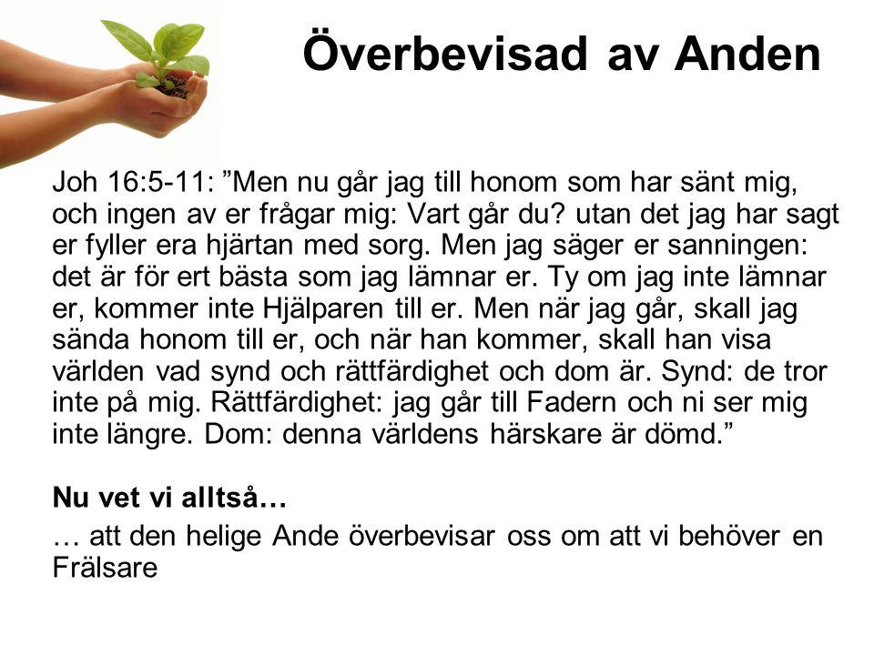 Överbevisad av Anden Joh 16:5-11: Men nu går jag till honom som har sänt mig, och ingen av er frågar mig: Vart går du.
