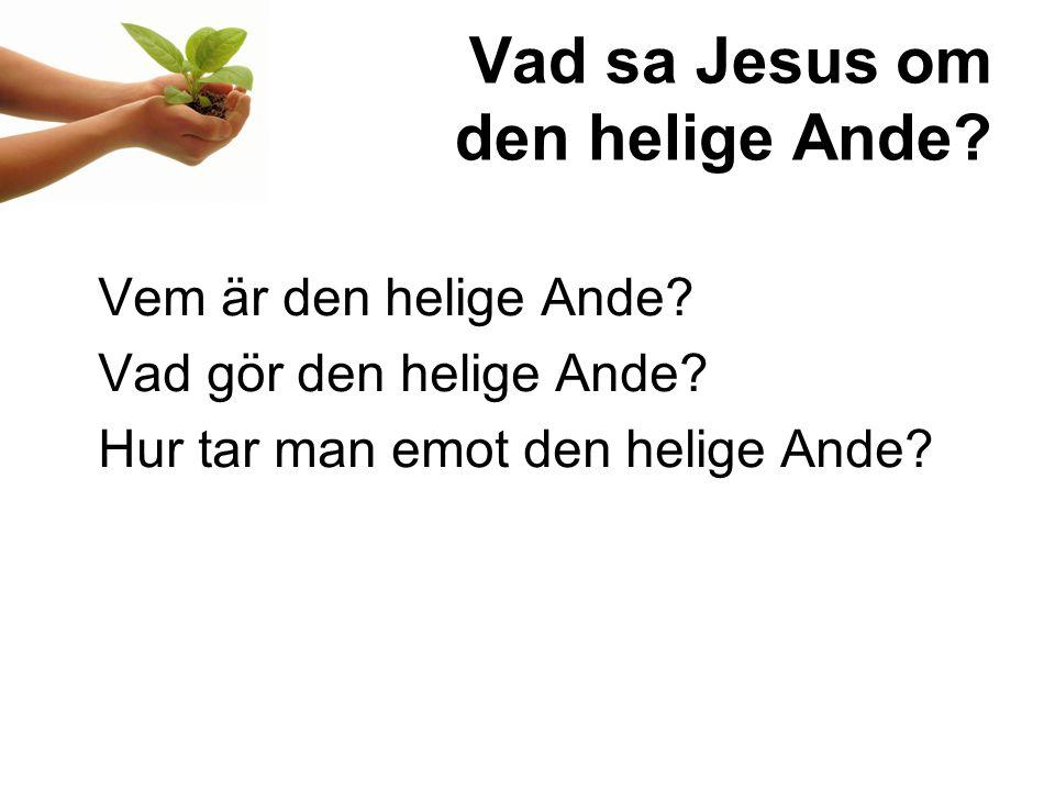 Vad sa Jesus om den helige Ande.Vem är den helige Ande.