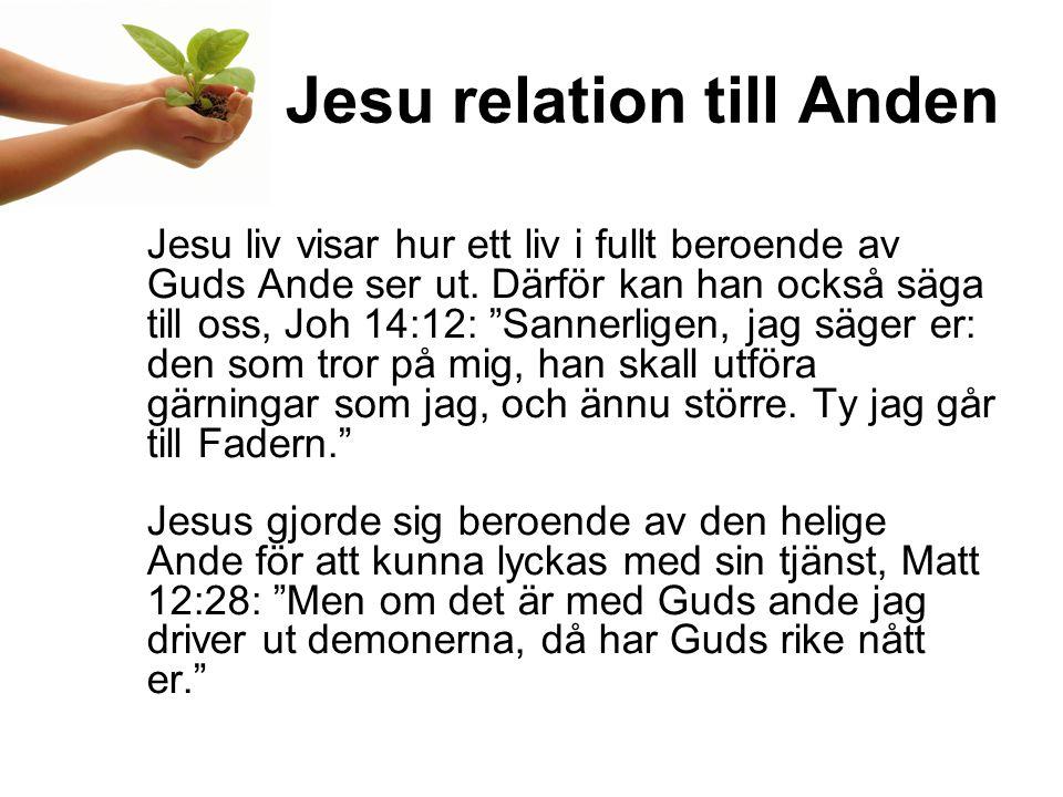 Jesu relation till Anden Jesu liv visar hur ett liv i fullt beroende av Guds Ande ser ut.