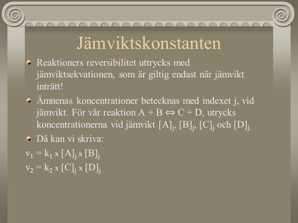 Vid jämvikt är v 1 =v 2 och vi kan skriva: k 1 x [A] j x [B] j = k 2 x [C] j x [D] j Eller: Där K = k 1 /k 2