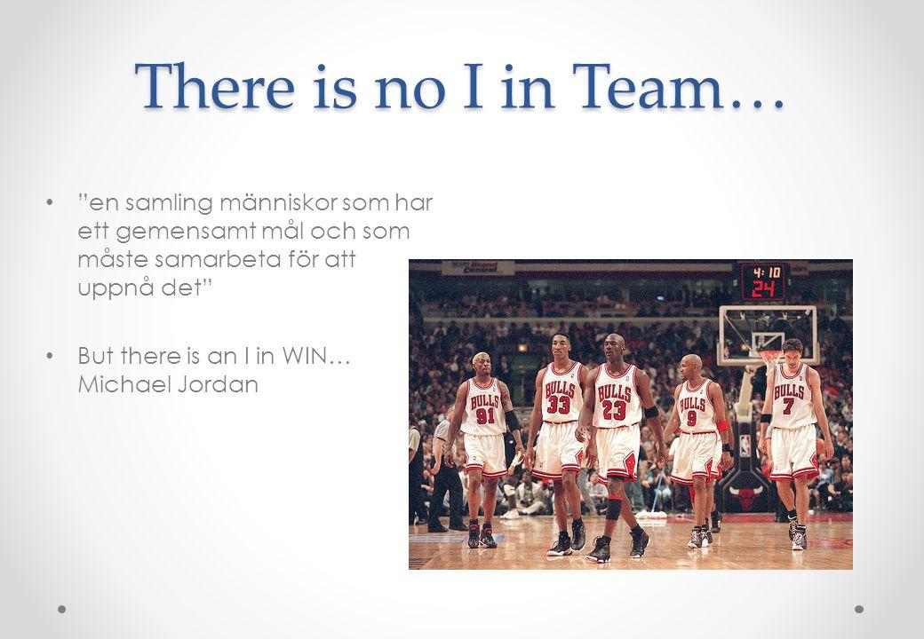 """There is no I in Team… • """"en samling människor som har ett gemensamt mål och som måste samarbeta för att uppnå det"""" • But there is an I in WIN… Michae"""