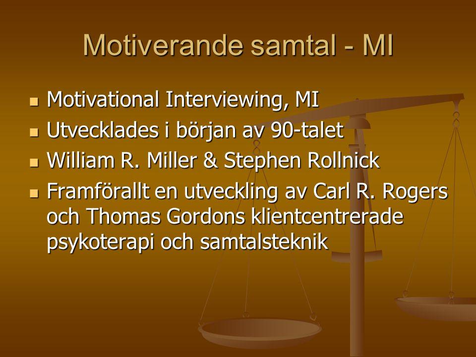 Motiverande samtal - MI  Motivational Interviewing, MI  Utvecklades i början av 90-talet  William R.