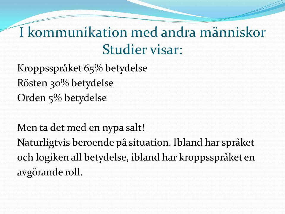 I kommunikation med andra människor Studier visar: Kroppsspråket 65% betydelse Rösten 30% betydelse Orden 5% betydelse Men ta det med en nypa salt! Na