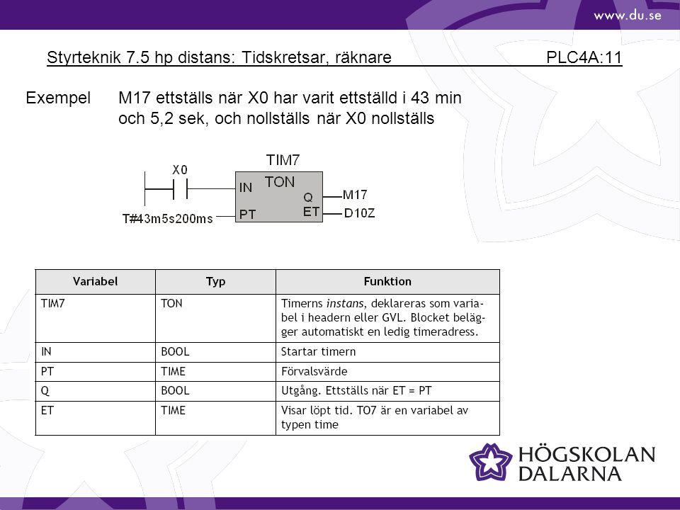 Styrteknik 7.5 hp distans: Tidskretsar, räknare PLC4A:11 M17 ettställs när X0 har varit ettställd i 43 min och 5,2 sek, och nollställs när X0 nollstäl
