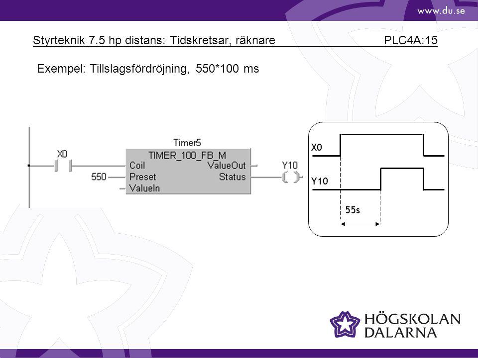 Styrteknik 7.5 hp distans: Tidskretsar, räknare PLC4A:15 X0 Y10 55s Exempel: Tillslagsfördröjning, 550*100 ms