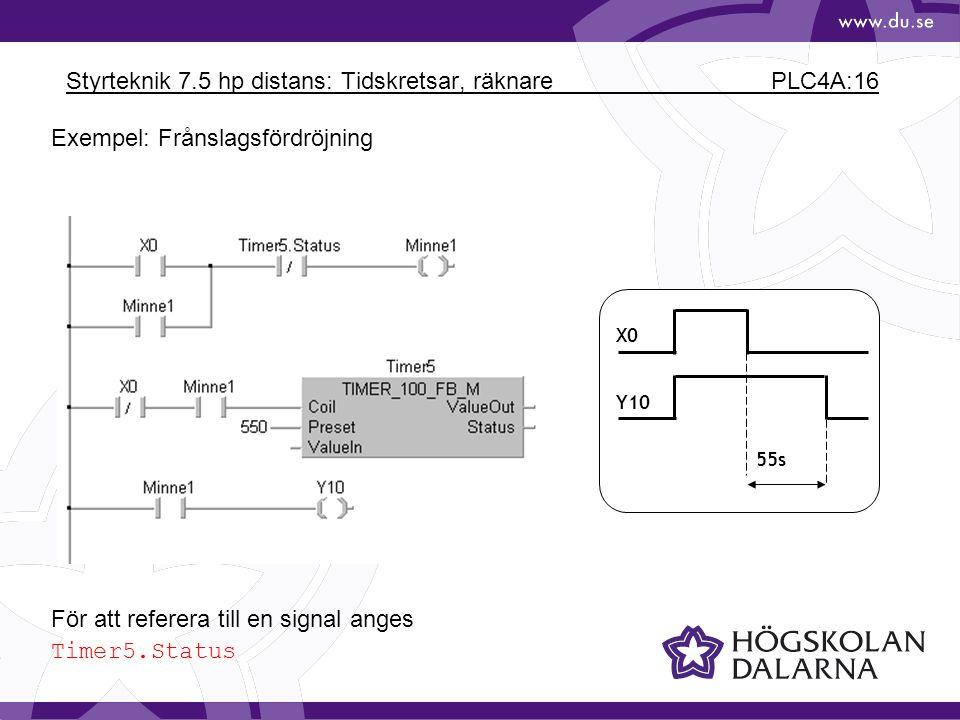 Styrteknik 7.5 hp distans: Tidskretsar, räknare PLC4A:16 X0 Y10 55s För att referera till en signal anges Timer5.Status Exempel: Frånslagsfördröjning
