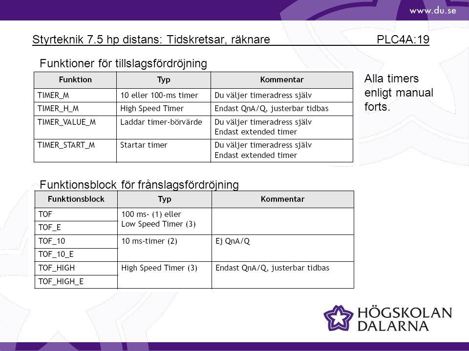 Styrteknik 7.5 hp distans: Tidskretsar, räknare PLC4A:19 Funktioner för tillslagsfördröjning Funktionsblock för frånslagsfördröjning Alla timers enlig