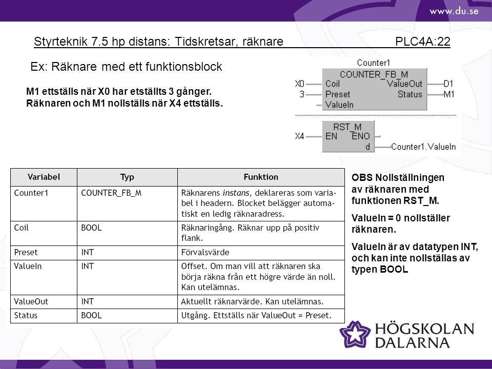 Styrteknik 7.5 hp distans: Tidskretsar, räknare PLC4A:22 M1 ettställs när X0 har etställts 3 gånger. Räknaren och M1 nollställs när X4 ettställs. OBS