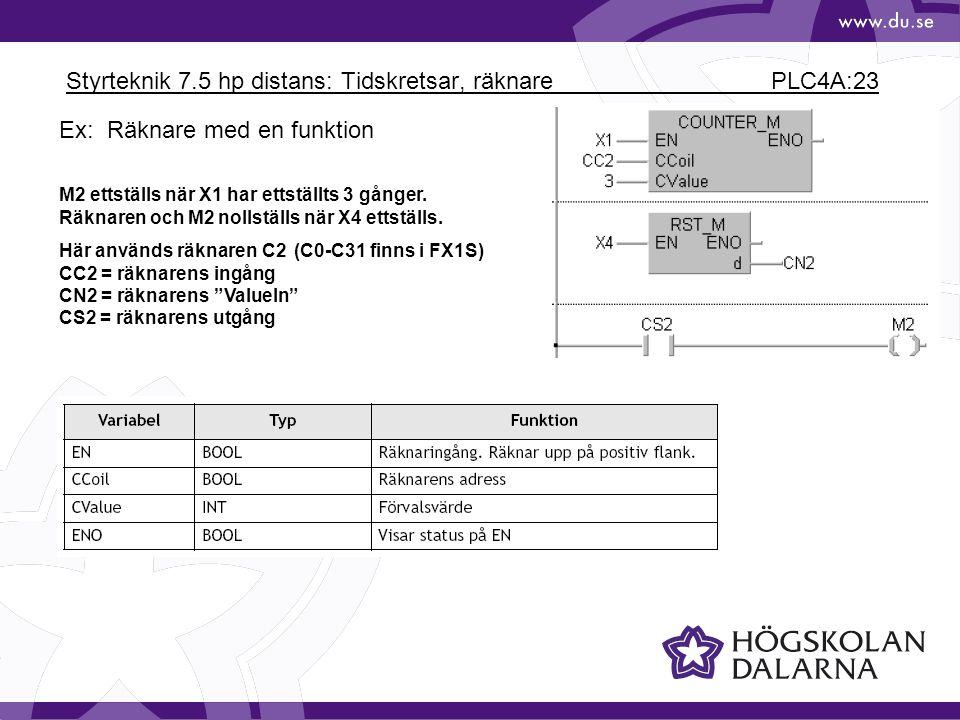 Styrteknik 7.5 hp distans: Tidskretsar, räknare PLC4A:23 Ex: Räknare med en funktion M2 ettställs när X1 har ettställts 3 gånger. Räknaren och M2 noll