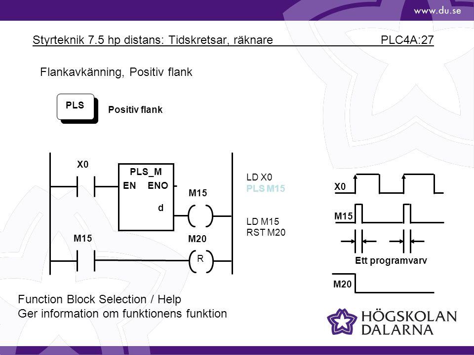 Styrteknik 7.5 hp distans: Tidskretsar, räknare PLC4A:27 PLS LD X0 PLS M15 LD M15 RST M20 Positiv flank M15 X0 M20 X0 M15 Ett programvarv PLS_M ENENO