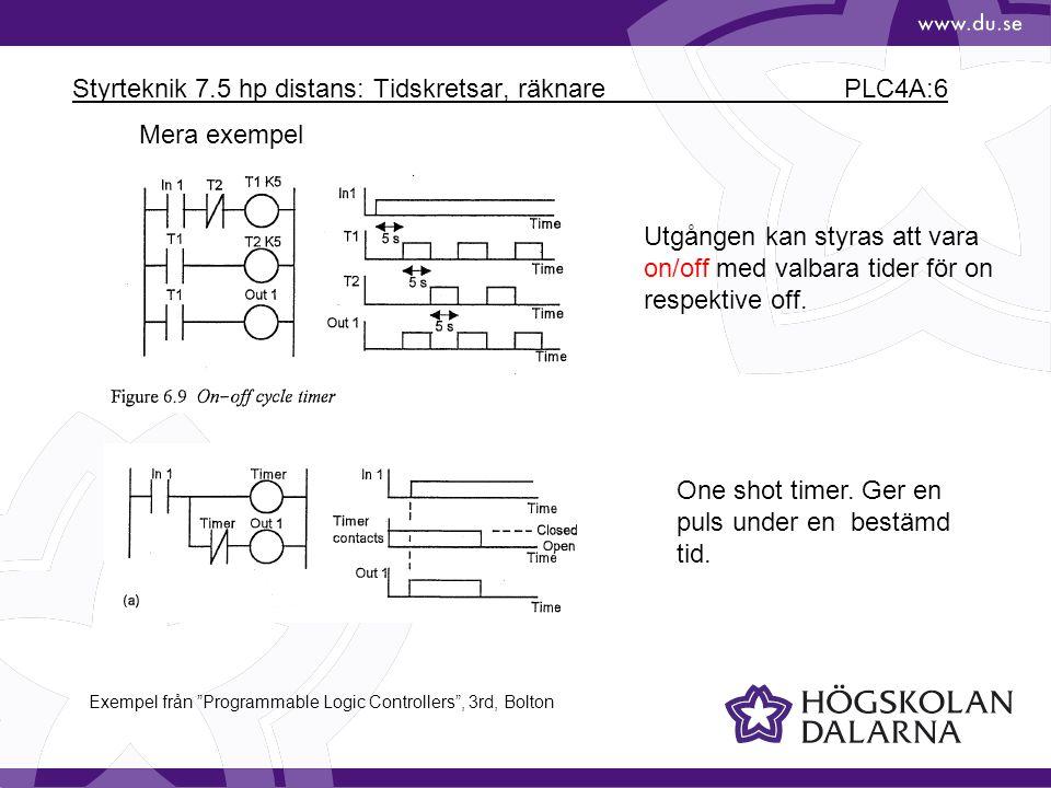 Styrteknik 7.5 hp distans: Tidskretsar, räknare PLC4A:6 Mera exempel Utgången kan styras att vara on/off med valbara tider för on respektive off. One