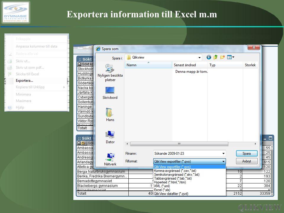 Exportera information till Excel m.m