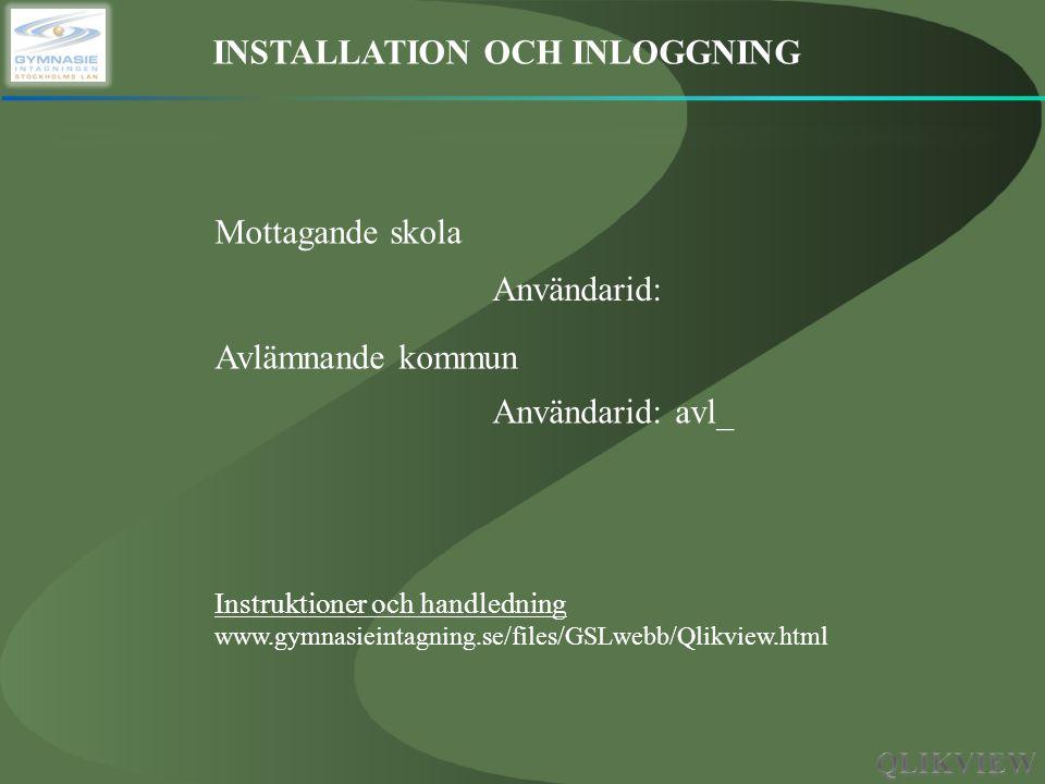 INSTALLATION OCH INLOGGNING Mottagande skola Avlämnande kommun Instruktioner och handledning www.gymnasieintagning.se/files/GSLwebb/Qlikview.html Anvä
