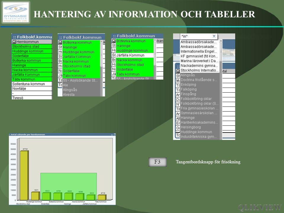 HANTERING AV INFORMATION OCH TABELLER F3 Tangentbordsknapp för frisökning