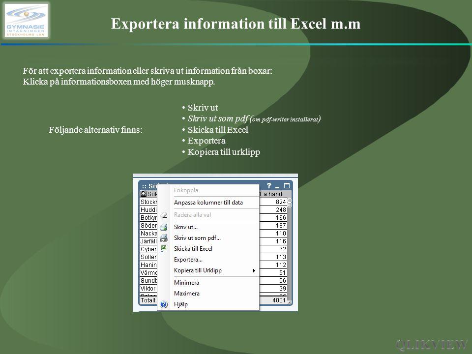 Exportera information till Excel m.m För att exportera information eller skriva ut information från boxar: Klicka på informationsboxen med höger muskn