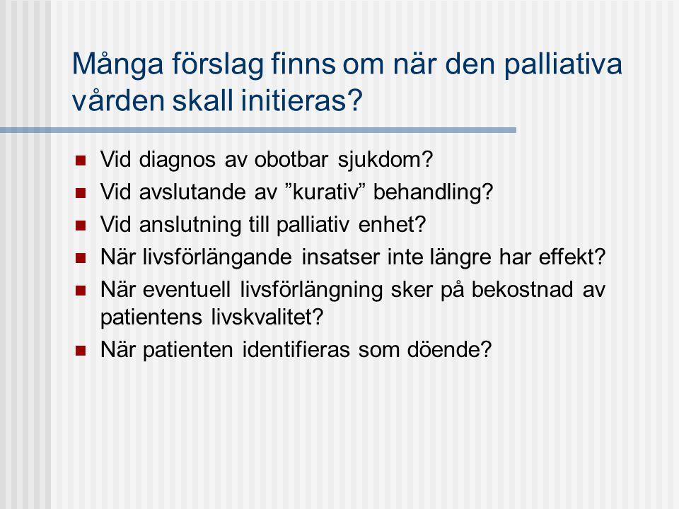"""Många förslag finns om när den palliativa vården skall initieras?  Vid diagnos av obotbar sjukdom?  Vid avslutande av """"kurativ"""" behandling?  Vid an"""