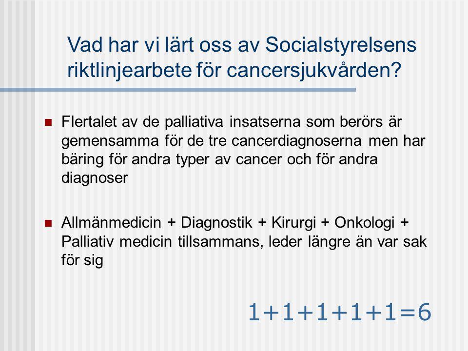 Vad har vi lärt oss av Socialstyrelsens riktlinjearbete för cancersjukvården?  Flertalet av de palliativa insatserna som berörs är gemensamma för de
