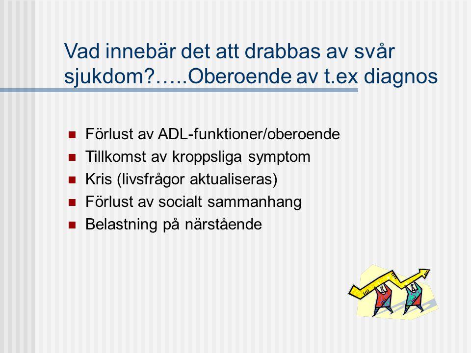 Vad innebär det att drabbas av svår sjukdom?…..Oberoende av t.ex diagnos  Förlust av ADL-funktioner/oberoende  Tillkomst av kroppsliga symptom  Kri