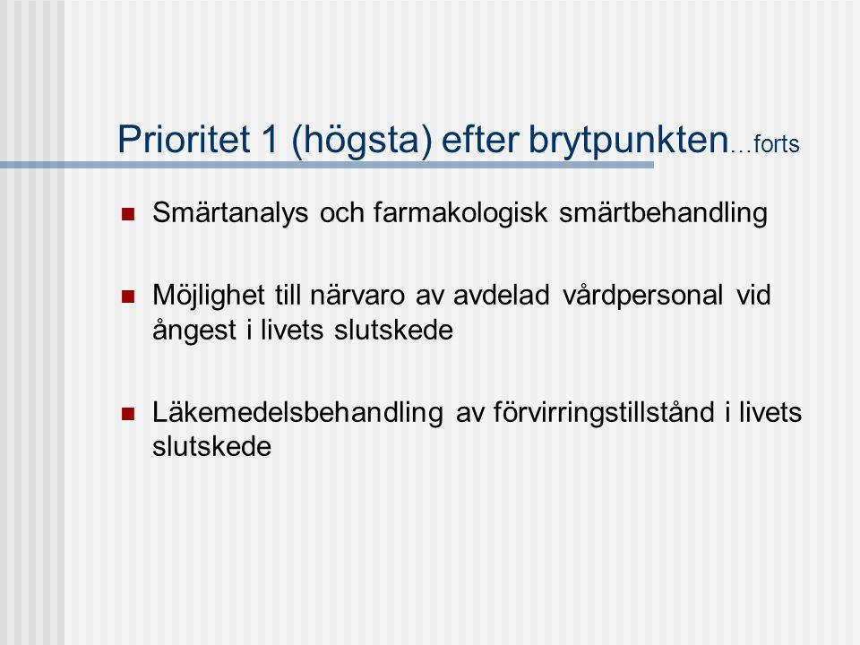 Prioritet 1 (högsta) efter brytpunkten …forts  Smärtanalys och farmakologisk smärtbehandling  Möjlighet till närvaro av avdelad vårdpersonal vid ång