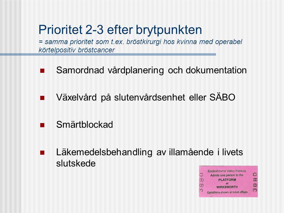 Prioritet 2-3 efter brytpunkten = samma prioritet som t.ex. bröstkirurgi hos kvinna med operabel körtelpositiv bröstcancer  Samordnad vårdplanering o