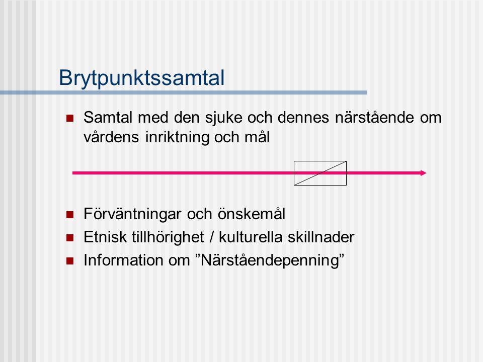 Brytpunktssamtal  Samtal med den sjuke och dennes närstående om vårdens inriktning och mål  Förväntningar och önskemål  Etnisk tillhörighet / kultu