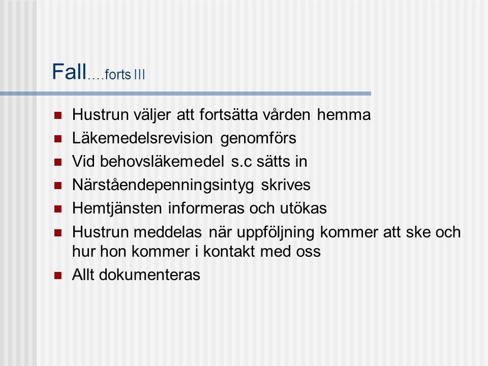 Fall ….forts III  Hustrun väljer att fortsätta vården hemma  Läkemedelsrevision genomförs  Vid behovsläkemedel s.c sätts in  Närståendepenningsint