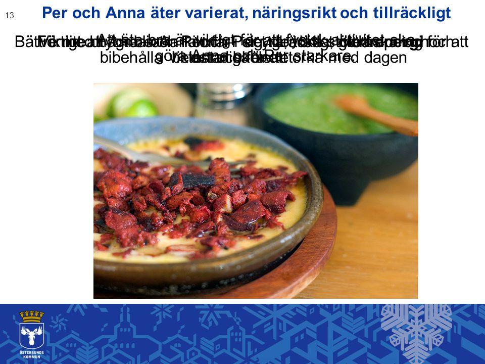 Per och Anna äter varierat, näringsrikt och tillräckligt 13 Viktigt att Anna och Per får i sig tillräckligt med energi för att bibehålla vikten och fö