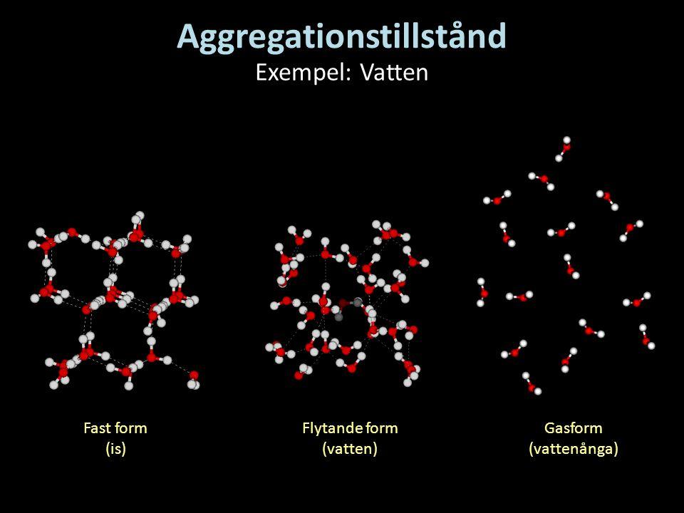 Aggregationstillstånd Exempel: Vatten Fast form (is) Flytande form (vatten) Gasform (vattenånga)