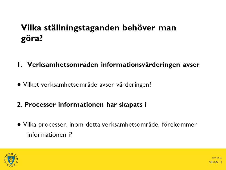 2014-06-23 SIDAN 14 1.Verksamhetsområden informationsvärderingen avser ● Vilket verksamhetsområde avser värderingen? 2. Processer informationen har sk