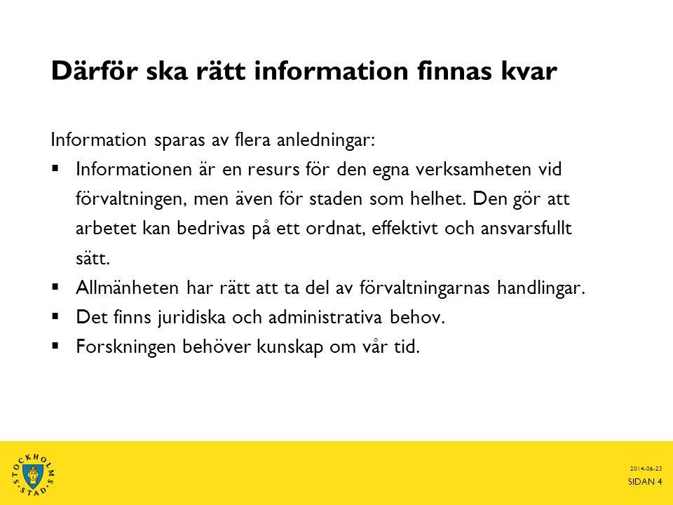 2014-06-23 SIDAN 4 Därför ska rätt information finnas kvar Information sparas av flera anledningar:  Informationen är en resurs för den egna verksamh