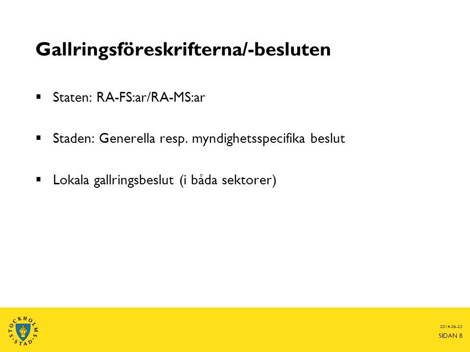2014-06-23 SIDAN 8 Gallringsföreskrifterna/-besluten  Staten: RA-FS:ar/RA-MS:ar  Staden: Generella resp. myndighetsspecifika beslut  Lokala gallrin
