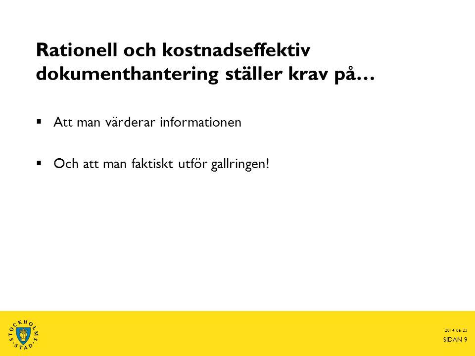 2014-06-23 SIDAN 9 Rationell och kostnadseffektiv dokumenthantering ställer krav på…  Att man värderar informationen  Och att man faktiskt utför gal