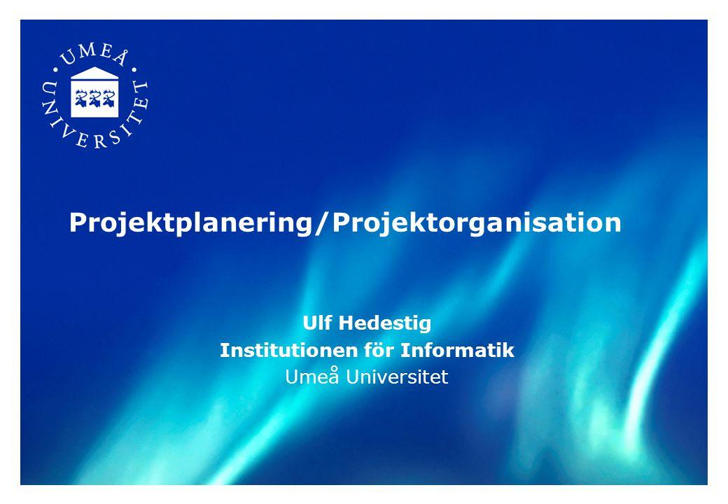 Projektplanering/Projektorganisation Ulf Hedestig Institutionen för Informatik Umeå Universitet